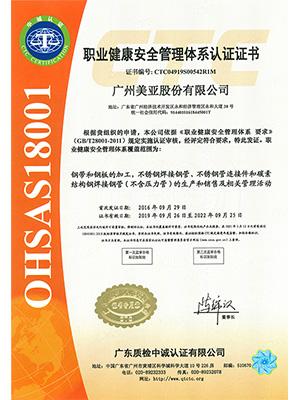 美亚-OHSAS18001管理体系证书