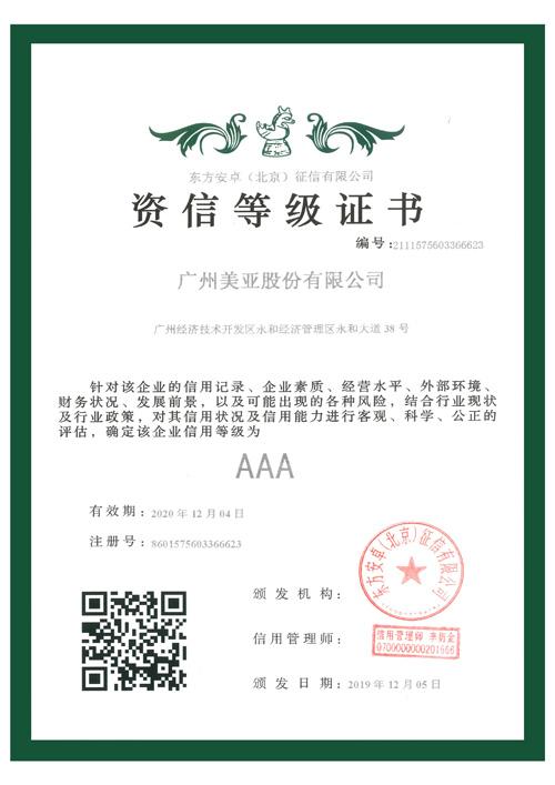 资信等级AAA级证书